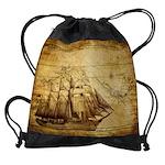 Old Ship Map Drawstring Bag