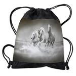 Wild White Horses Drawstring Bag