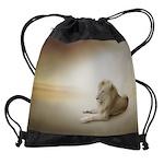 White Lion Drawstring Bag