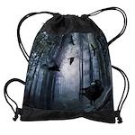 Misty Forest Crows Drawstring Bag