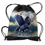 Black Pegasus Drawstring Bag