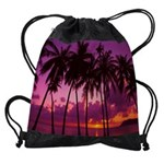 Purple Tropical Sunset Drawstring Bag