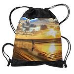 Golden Surf Sunset Drawstring Bag