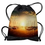 Golden Marina Sunset Drawstring Bag