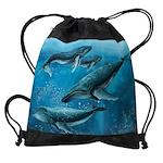 Coral Reef Whales Drawstring Bag
