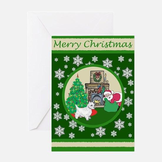 Santa & A Westie Greeting Card