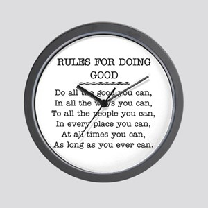 RULES FOR DOING GOOD Wall Clock