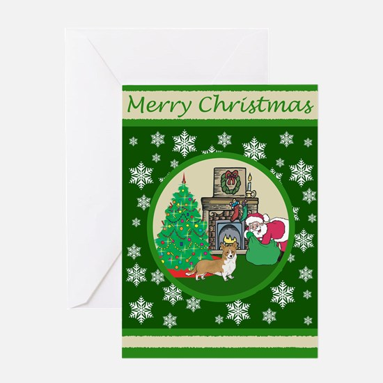 Santa & A Welsh Corgi Greeting Card