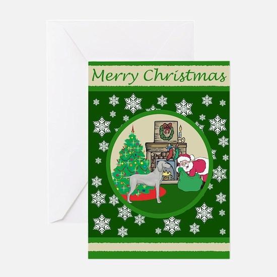 Santa & A Weimaraner Greeting Card