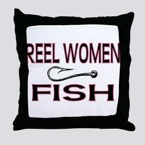 Reel Women Fish Throw Pillow