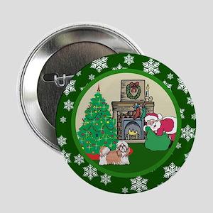 "Santa & A Shih Tzu 2.25"" Button"