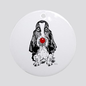 Red Nose Basset Ornament (Round)