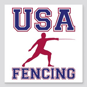 "Usa Fencing Square Car Magnet 3"" X 3"""