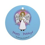 Holiday Angel Blue Ornament (Round)