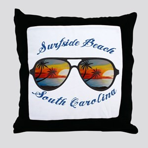 South Carolina - Surfside Beach Throw Pillow