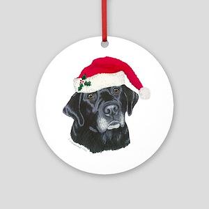 Blk Labrador Santa Hat Ornament Round