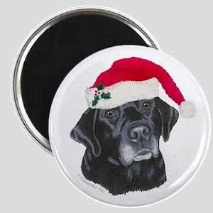 Blk Labrador Santa Hat Magnet