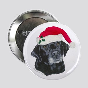 "Blk Labrador Santa Hat 2.25"" Button"