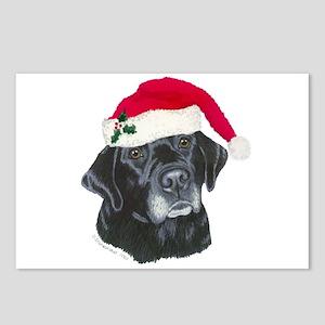 Blk Labrador Santa Hat Postcards (Package of 8)