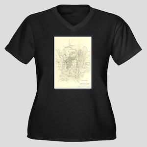 Vintage Map of Jerusalem Israel Plus Size T-Shirt