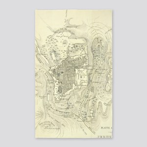 Vintage Map of Jerusalem Israel (1859) Area Rug
