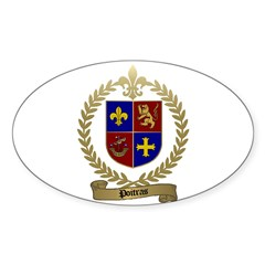 POITRAS Family Crest Oval Decal