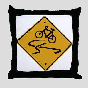Dangerous riding cycling Throw Pillow