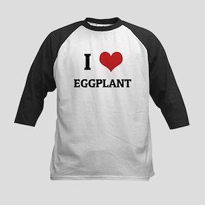 I Love Eggplant Kids Baseball Jersey