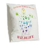 Tracks Of Turtle Island Burlap Throw Pillow