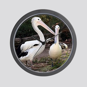 Pelicans at zoo Wall Clock