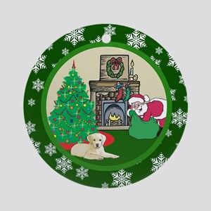 Santa & A Yellow Lab Ornament (Round)