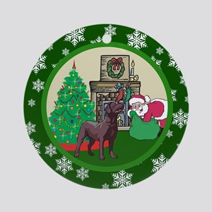 Santa & A Chocolate Lab Ornament (Round)