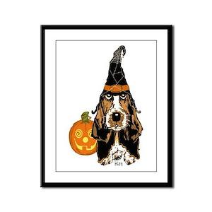 Halloween Basset Hound Framed Panel Print