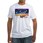 XmasSunrise/5 Cavaliers Fitted T-Shirt