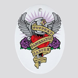 Pancreatic Cancer Dagger Tattoo Oval Ornament