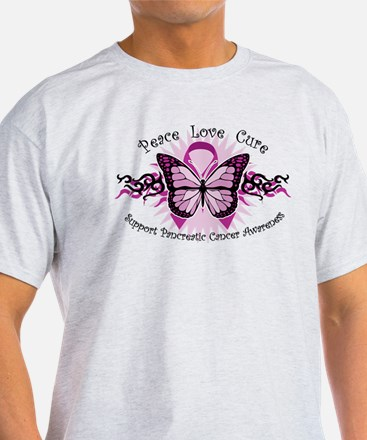Pancreatic Cancer Tribal Butterfly T-Shirt