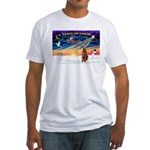 Xmas Sunrise/Airedale #3 Fitted T-Shirt