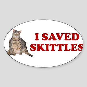 I SAVED SKITTLES CAT SURGERY Oval Sticker