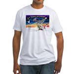 XmasSunrise/4 Ital Greyhnds Fitted T-Shirt
