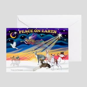 XmasSunrise/4 Ital Greyhnds Greeting Card