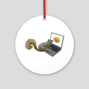 Squirrel at Computer Ornament (Round)