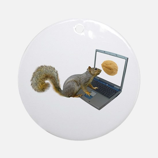 Squirrel at Computer Ornament (Round)