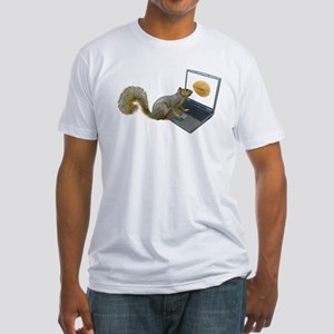 Squirrel at Computer Fitted T-Shirt