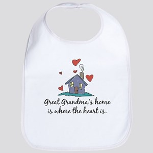 Great Grandma's Home is Where the Heart Is Bib