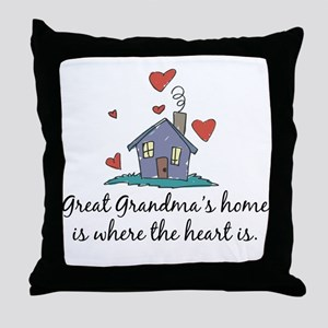 Great Grandma's Home is Where the Heart Is Throw P