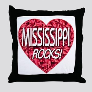 Mississippi Rocks Throw Pillow