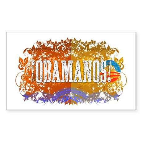 Obamanos Flowering Rectangle Sticker