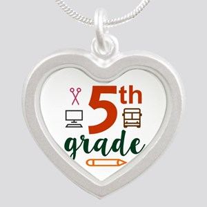 5th grade back to school Silver Heart Necklace
