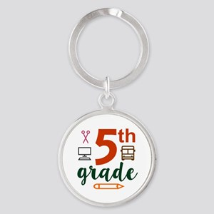 5th grade back to school Round Keychain