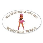 Vintage Petticoat Cowgirl Pinup Sticker (Oval 10 p